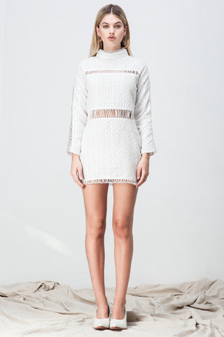 CUT OUT LACE PANELLED MINI WHITE