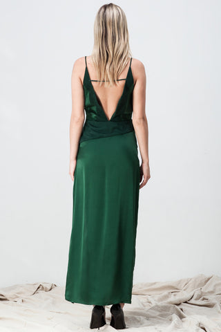 shakuhachi - DEEP V NECK CAMI SPLIT DRESS GREEN - 2