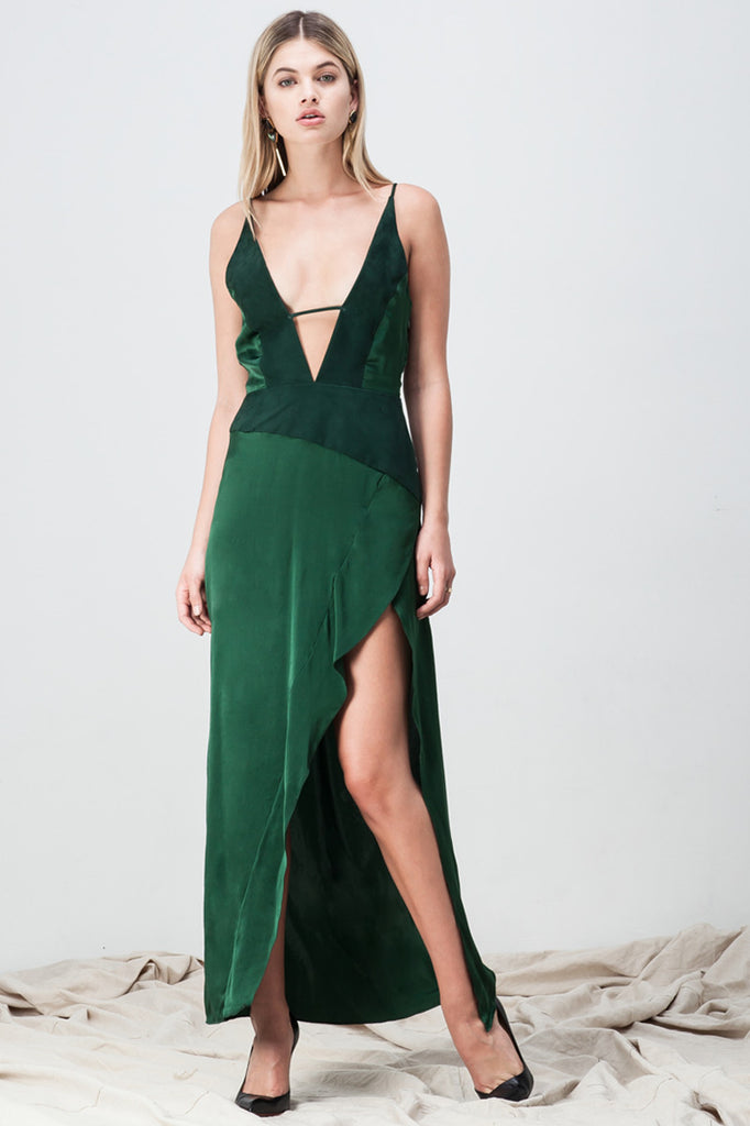 shakuhachi - DEEP V NECK CAMI SPLIT DRESS GREEN - 1