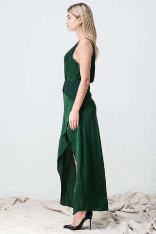 shakuhachi - DEEP V NECK CAMI SPLIT DRESS GREEN - 4
