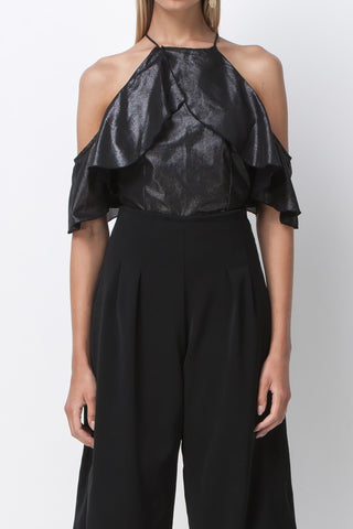DISCO NIGHTS DRAPE RUFFLE TOP - BLACK - Shakuhachi - 2