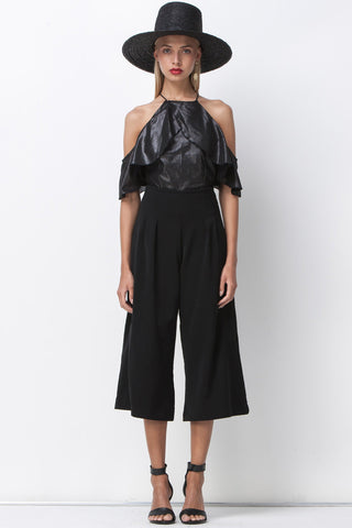 DISCO NIGHTS DRAPE RUFFLE TOP - BLACK