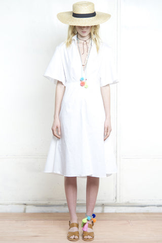 FRENCHY FLARED BACK SHIRT DRESS WHITE - Shakuhachi - 3