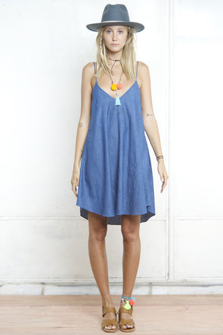 GENIE SCALLOP CAMI DRESS DENIM