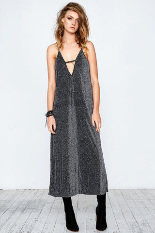 GLAM LEISURE MAXI DRESS - BLACK SILVER