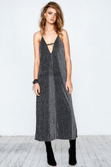 GLAM LEISURE MAXI DRESS - BLACK SILVER - Shakuhachi