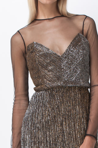 GOLD DUST MESH PANEL MIDI DRESS