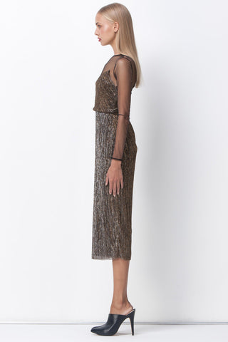 GOLD DUST MESH PANEL MIDI DRESS - Shakuhachi