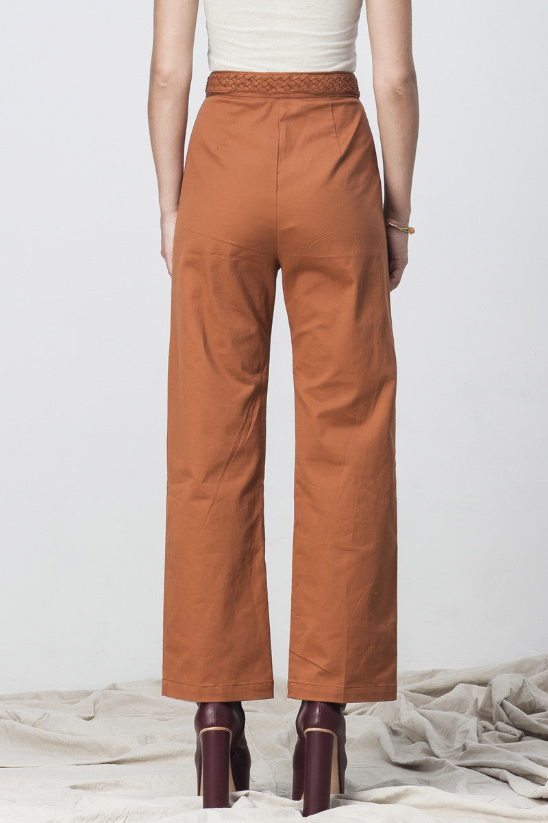 shakuhachi - HIGH WAISTED FLARE  LONG PANTS BURNT ORANGE - 5