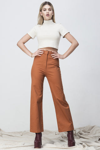 HIGH WAISTED FLARE  LONG PANTS BURNT ORANGE