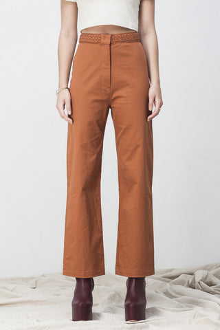 shakuhachi - HIGH WAISTED FLARE  LONG PANTS BURNT ORANGE - 3