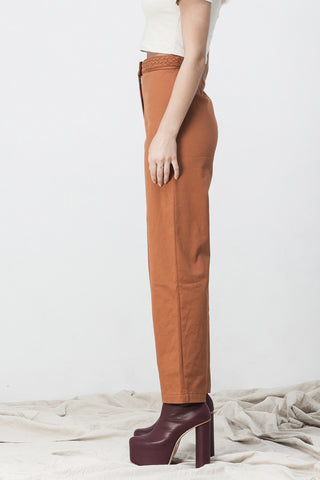shakuhachi - HIGH WAISTED FLARE  LONG PANTS BURNT ORANGE - 4