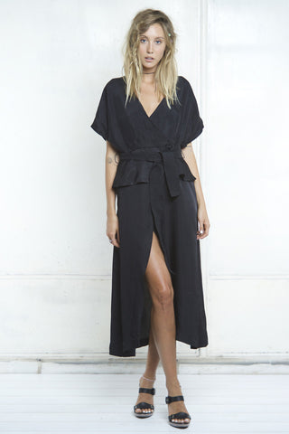 shakuhachi - ISABELLE WRAP DRESS - BLACK - 3
