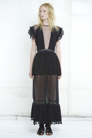 KARINA SHEER PANEL MAXI DRESS