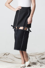 shakuhachi - KNOTTED MIDI SKIRT BLACK - 2