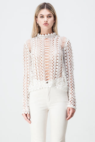 shakuhachi - LACE BORDERS LONG SLEEVE TOP WHITE - 4