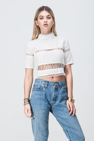 LACE PANELLED CROP WHITE