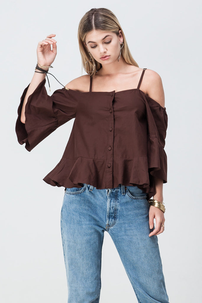 shakuhachi - OFF SHOULDER UPDOWN FLARE TOP BROWN - 1