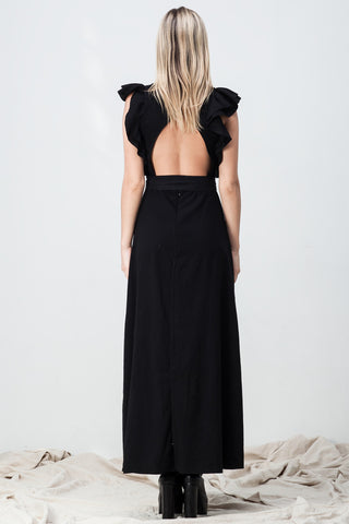 OPEN BACK RUFFLE DRESS BLACK