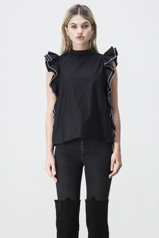 OPEN BACK RUFFLE TOP BLACK