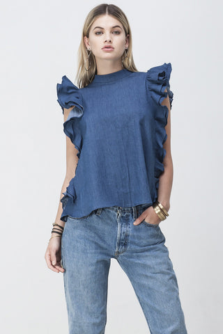 OPEN BACK RUFFLE TOP DENIM