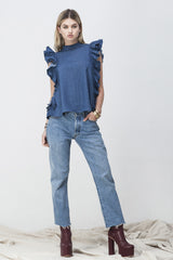 shakuhachi - OPEN BACK RUFFLE TOP DENIM - 6