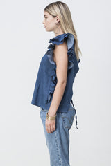 shakuhachi - OPEN BACK RUFFLE TOP DENIM - 5