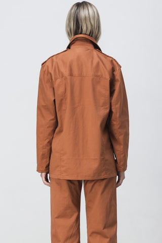 OVERSIZED LONG SLEEVE SHIRT JACKET BURNT ORANGE