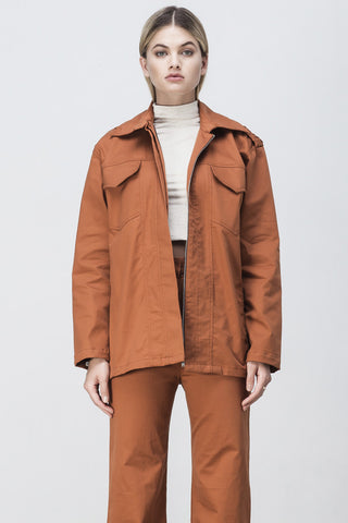 shakuhachi - OVERSIZED LONG SLEEVE SHIRT JACKET BURNT ORANGE - 2