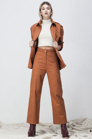 shakuhachi - OVERSIZED LONG SLEEVE SHIRT JACKET BURNT ORANGE - 3