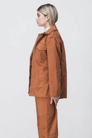 shakuhachi - OVERSIZED LONG SLEEVE SHIRT JACKET BURNT ORANGE - 5