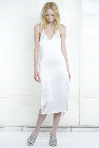 PFEIFFER HIGH SPLIT DRESS WHITE