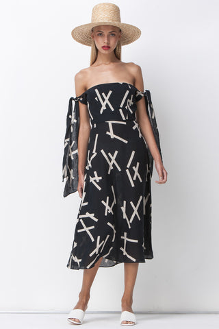 shakuhachi - PICK UP STIX BANDEAU TIES DRESS - BLACK - 1