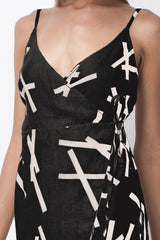 PICK UP STIX WRAP DRESS - BLACK