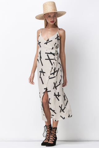PICK UP STIX WRAP DRESS - NATURAL