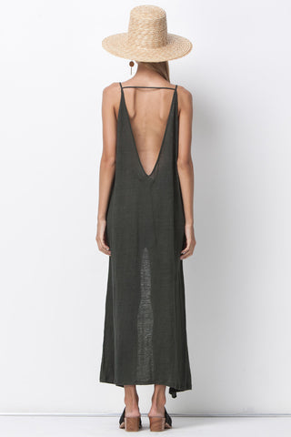 RAW LINEN JERSEY MAXI - DARK GREEN