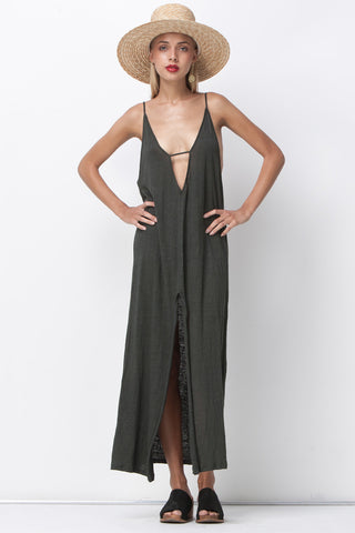 RAW LINEN JERSEY MAXI - DARK GREEN GREY