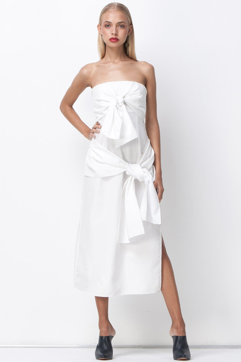 White bandeau dress toya