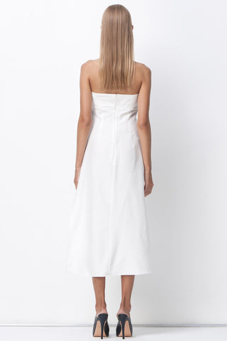 READY OR KNOT BANDEAU MIDI DRESS - WHITE