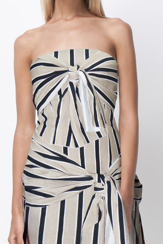READY OR KNOT BANDEAU MIDI DRESS - NATURAL STRIPE
