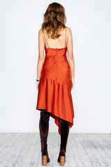 SATIN DRAPE HEM CAMI DRESS - ORANGE