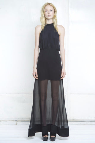 SHEER TURTLE NECK MAXI DRESS