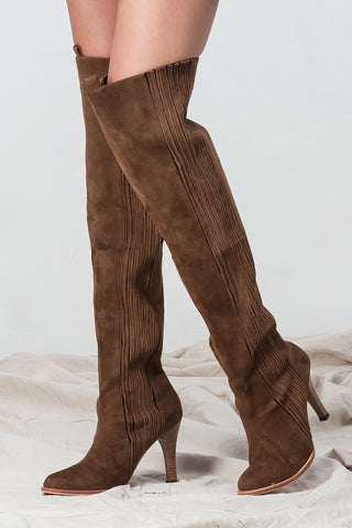 STILETTO HEELED RIDING BOOTS TAN