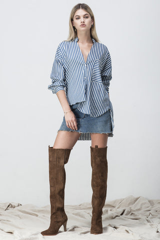 STRIPE CHAMBRAY ASYMMETRICAL SHIRT