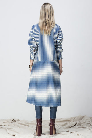 shakuhachi - STRIPE CHAMBRAY WRAP DRESS - 6