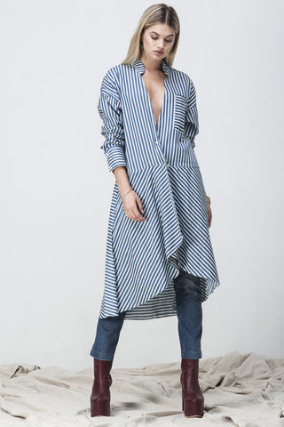 STRIPE CHAMBRAY WRAP DRESS