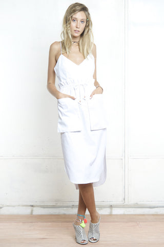 SCOOP HEM CAMI DRESS WHITE