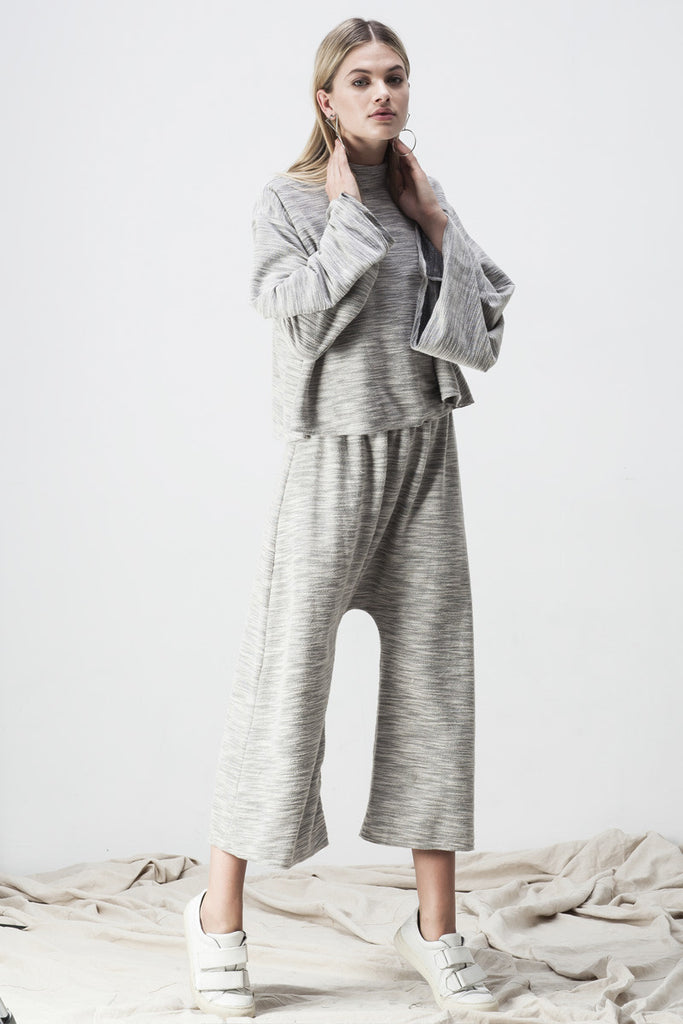 TERRY DROP CROTCH PANT GREY - Shakuhachi - 1