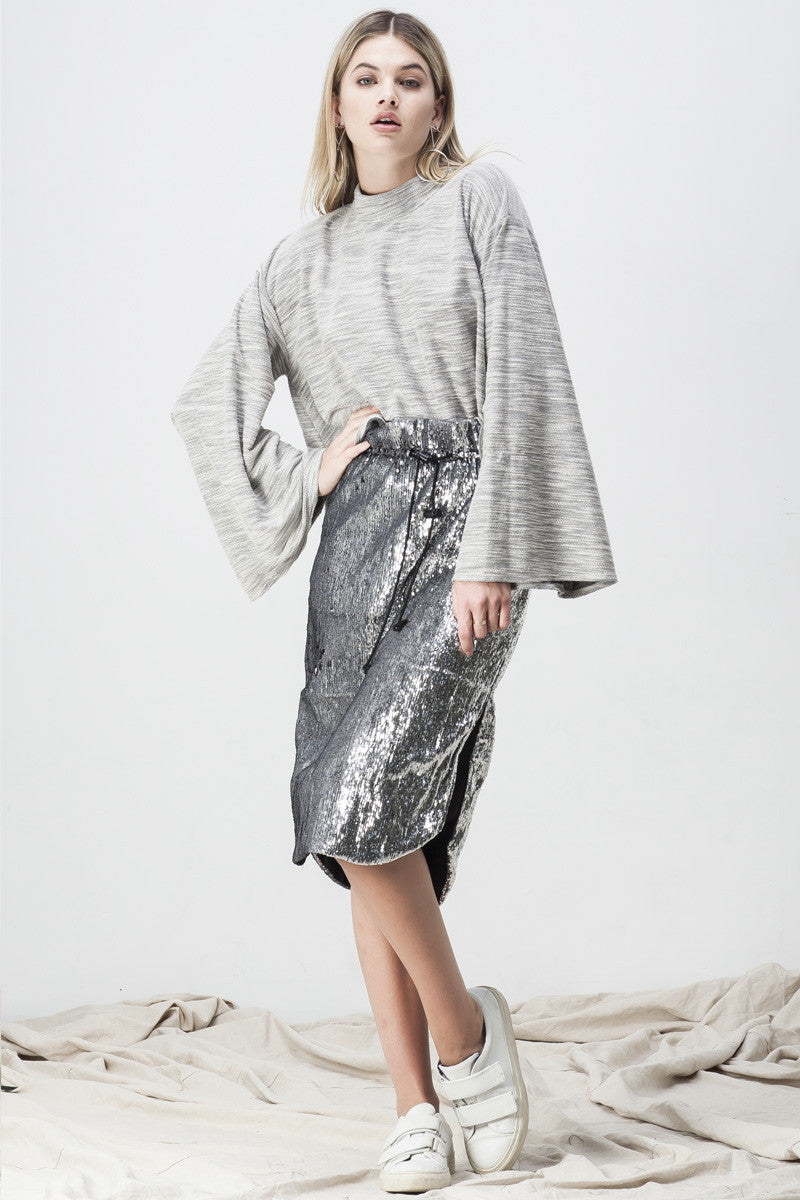 shakuhachi - TERRY WIDE SLEEVE SWEATER GREY - 2
