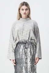 shakuhachi - TERRY WIDE SLEEVE SWEATER GREY - 1